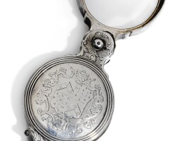 310. sir john eyre's silver-mounted reading or magnifying glass, unmarked, probably london, circa 1730, the engraving attributed to charles gardner |