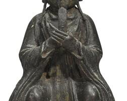 878. 明 銅道教人物坐像