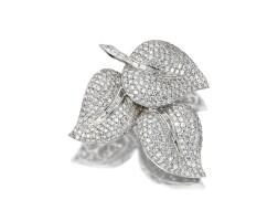 182. diamond leaf brooch