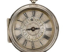 13. peter zolling, hamburg   a silver pair cased verge watch with alarm circa 1700
