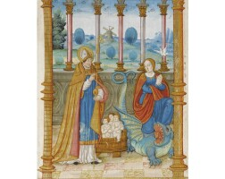 6. two large illuminated miniatures from a liturgical volume (perhaps a pontifical), on vellum