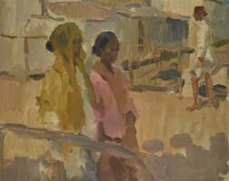 1. isaac israels | girls on a bridge in batavia, dutch east indies