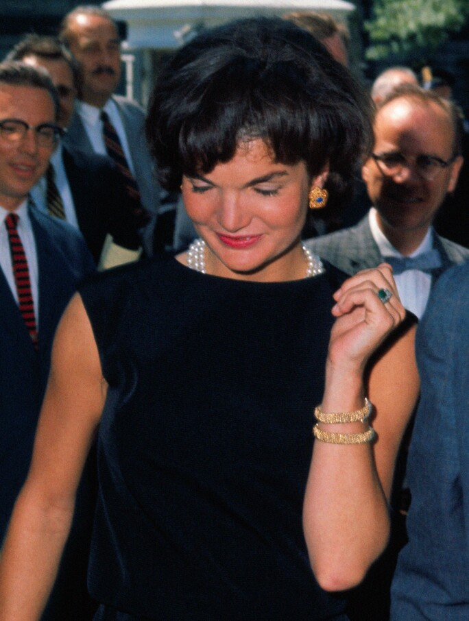 Jacqueline Kennedy during a visit from Prince Rainier and Princess Grace, 1961.