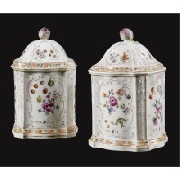 6. a pair of meissen canisters and covers circa 1755