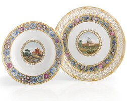 32. a russian porcelain serving plate and a soup plate from the cabinet service, imperial porcelain manufactory, st. petersburg, period of paul i (1796-1801)