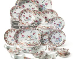 317. an extensive chinese export famille-rose part dinner service, qing dynasty, qianlong period, circa 1760 |
