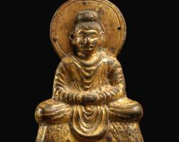 3625. 十六國四至五世紀初 鎏金銅犍陀羅式釋迦牟尼佛坐像 |