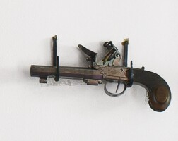 14. figured walnut and engraved brass and steel dual barrel pistol, england, circa 1800