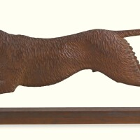 686. carved pine foxhound weathervane pattern, attributed to henry leach (1809-1885) boston, 1869-1870