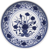 8. a rare blue and white 'lotus bouquet' saucer dish qianlong seal mark and period |