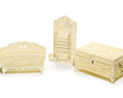 330. a set of canton carved ivory stationary items qing dynasty, 19th century