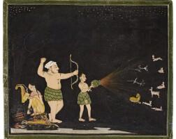 29. maharana raj singhhunting at night,mewar,circa third quarter 18th century