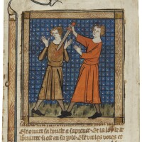 18. cain killing abel, miniature stuck to a cutting from a bible historiale, in french [france (paris), early 14th century]