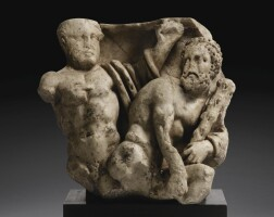 33. a roman marble sarcophagus relief fragment with labours of herakles, 2nd quarter of the 3rd century a.d.   a roman marble sarcophagus relief fragment with labours of herakles