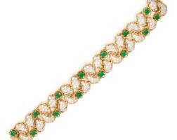 33. platinum, gold, emerald and diamond bracelet, france