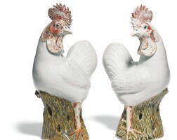 44. a pair of chinese porcelain models of cockerels qing dynasty, qianlong/jiaqing period