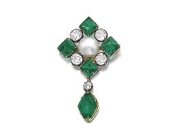 319. natural pearl, emerald and diamond brooch, late 19th century