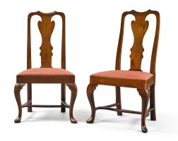 6037. pair of queen anne carved walnut side chairs, philadelphia, circa 1750