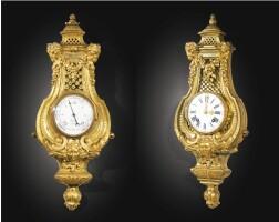 174. rare suite comprenant un baromètre etun cartel en bronze doré, lebaromètre de la fin d'époque louis xiv, le cartel d'époque louis xvi, d'après un modèleattribué àandré-charles boulle
