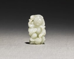 221. a white jade 'boy and bird' group qing dynasty  