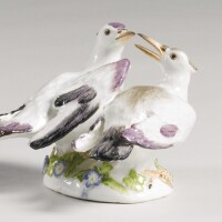 34. a meissen group of billing doves circa 1740-50