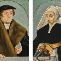 106. bartholomäus bruyn the elder | portrait of a gentleman, half-length, wearing a black coat with fur collar, holding a letter;portrait of his wife, half-length, wearing a black dress and cape with gold belt, holding a red and gold bead rosary
