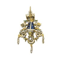 5. gold, seed pearl and enamel pendant, circa 1700