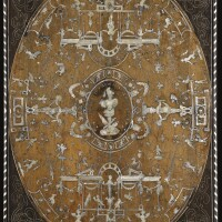 6. an italian engraved mother-of–pearl, ebony and ivory inlaid walnut and marquetry `grottesche', panel inlaid with the motto of emanuele filiberto, duke of savoy (1528-1580), probably piedmontese mid 16th century