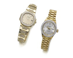 21. two lady's gold and diamond wristwatches, patek philippe and rolex