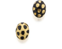 12. pair of gold and black jade 'positive negative' earclips, angela cummings for tiffany & co.