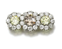 44. fancy yellow and fancy brown diamond brooch, late 19th century