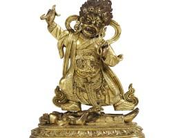 33. statuette de begtse chen en bronze doré dynastie qing, xviiiesiècle  