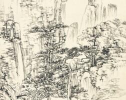 1206. 吳鏡汀 擬倪王山水 | 水墨紙本 立軸 一九三八年作