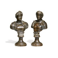 11. a pair of italian probably 19th century bronze busts of the vitellius (ad 68) and domitianus (ad 81 - 96) [two works]
