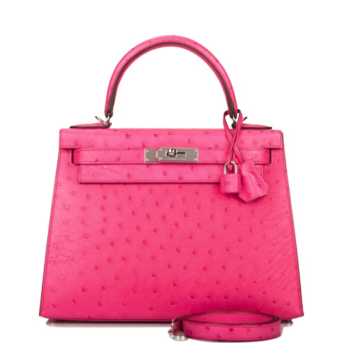 Hermès Rose Tyrien Sellier Kelly 28cm of Ostrich with Palladium Hardware
