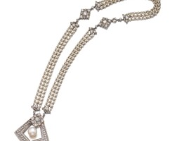 3. cultured pearl, seed pearl and diamond necklace