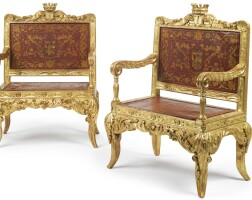 25. a pair of large spanish crowned armorial carved giltwood armchairs circa 1830