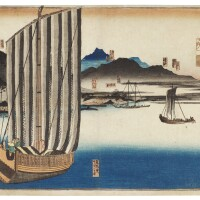 13. utagawa kuniyoshi (1797–1861)a rare completeset of twelve stations of the tokaido road | a complete set of some stations of tokaido, edo period, 19th century
