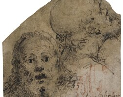 8. aurelio luini | two studies of heads: one frontal the other in profile