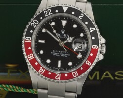 9. rolex | gmt master ii stick dial, reference 16710 stainless steel dual-time wristwatch with date and bracelet circa 2006