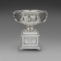46. a george iv silver warwick vase, john bridge for rundell, bridge & rundell, london, 1828, the stand william bateman, london, 1834 |