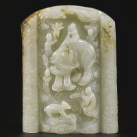 359. a celadon jade and russet table screen qing dynasty, 18th / 19th century