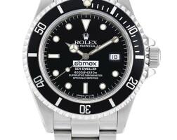 46. 勞力士(rolex) | 16600型號「comex sea-dweller」精鋼鍊帶腕錶備日期顯示,年份約1992。