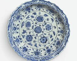 1. a fine blue and white barbed rim 'floral scroll' dish ming dynasty, yongle period