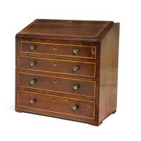3. a george iii mahogany and boxwood strung miniature bureau, late 18th/early 19th century