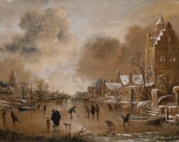 165. aert van der neer | a frozen canal with kolf players and buildings on both banks