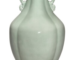 535. a rare and large celadon-glazed lobed baluster-form vase qianlong seal mark and period |