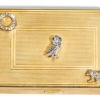 725. a jewelled 9ct gold cigarette box, cartier, london, 1942