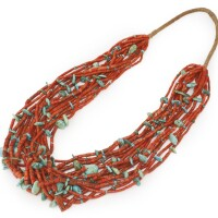 3. navajo coral and turquoise necklace, four corners area
