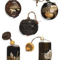 136. ensemble de 5 inro japon, xviiie-xixe siècle